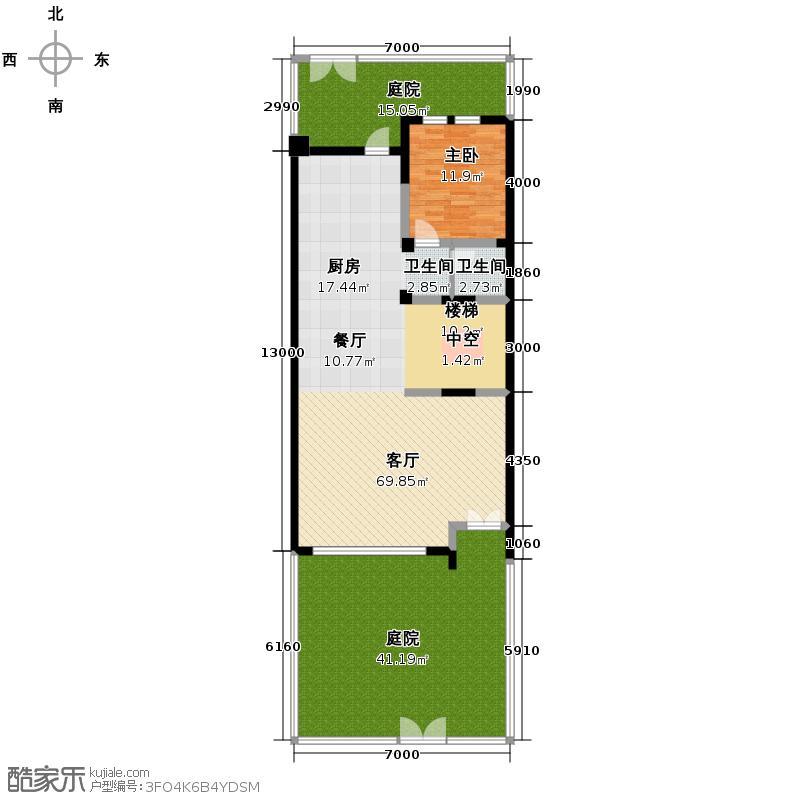 复地温莎堡155.04㎡联排别墅红府首层平面户型1室2厅1卫