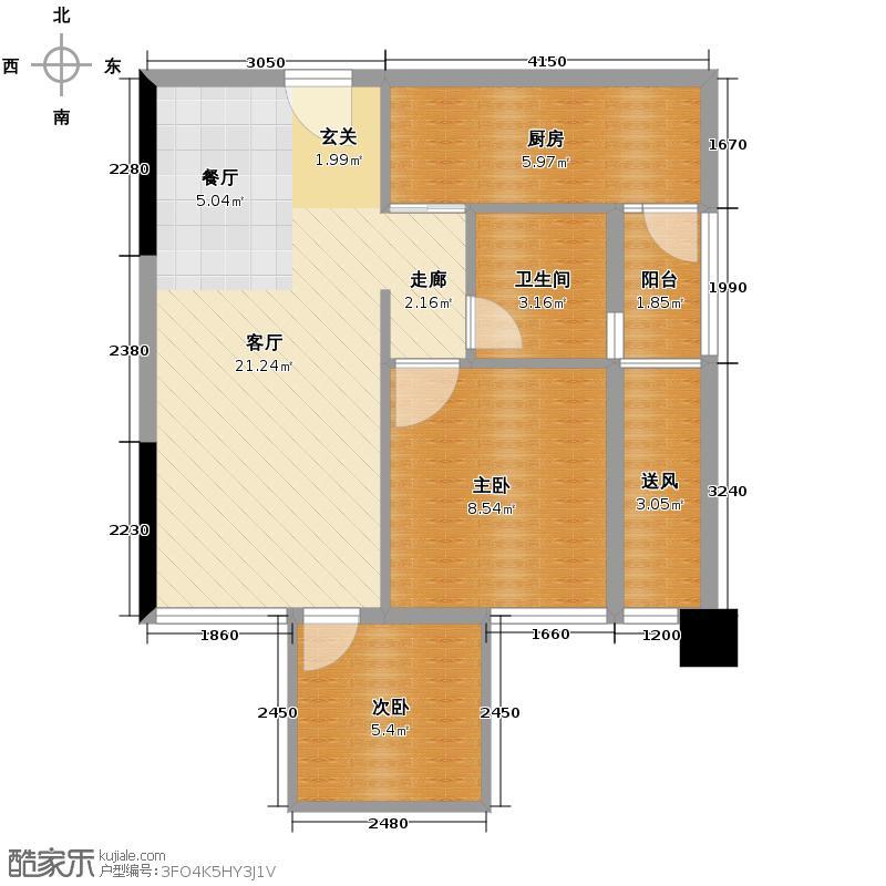 戛纳湾63.00㎡C2-3户型2室2厅1卫