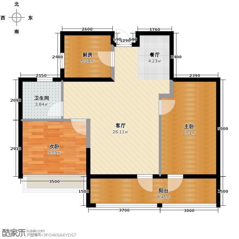 绿城玉兰花园89.21㎡3号楼E1户型2室2厅1卫