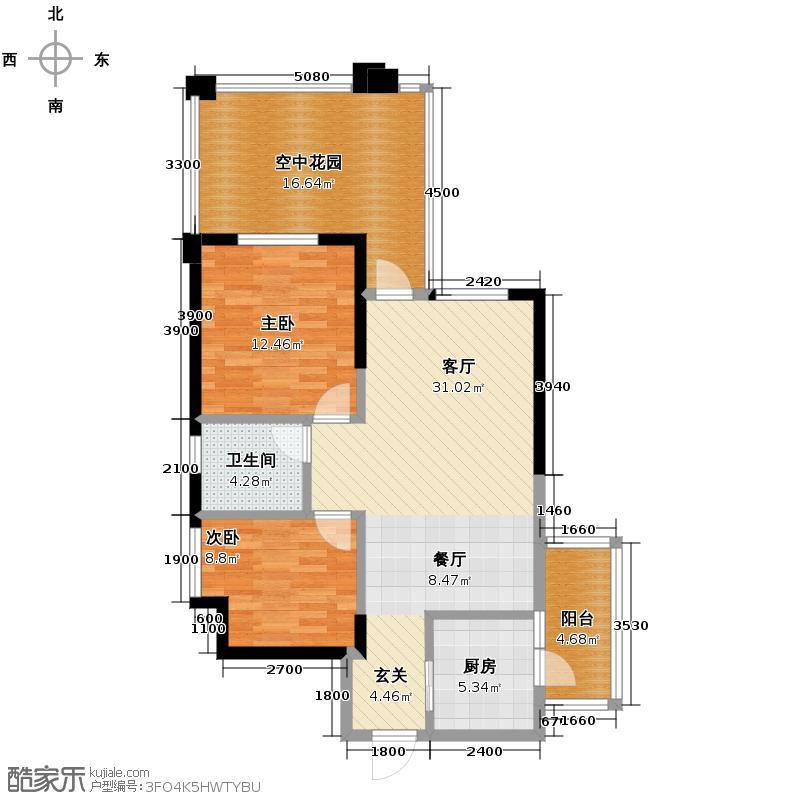 南湖国际社区82.00㎡6期镜湖H7奇数层户型2室2厅1卫