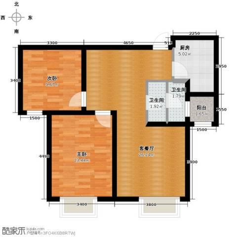 世茂生态城2室2厅1卫0厨91.00㎡户型图