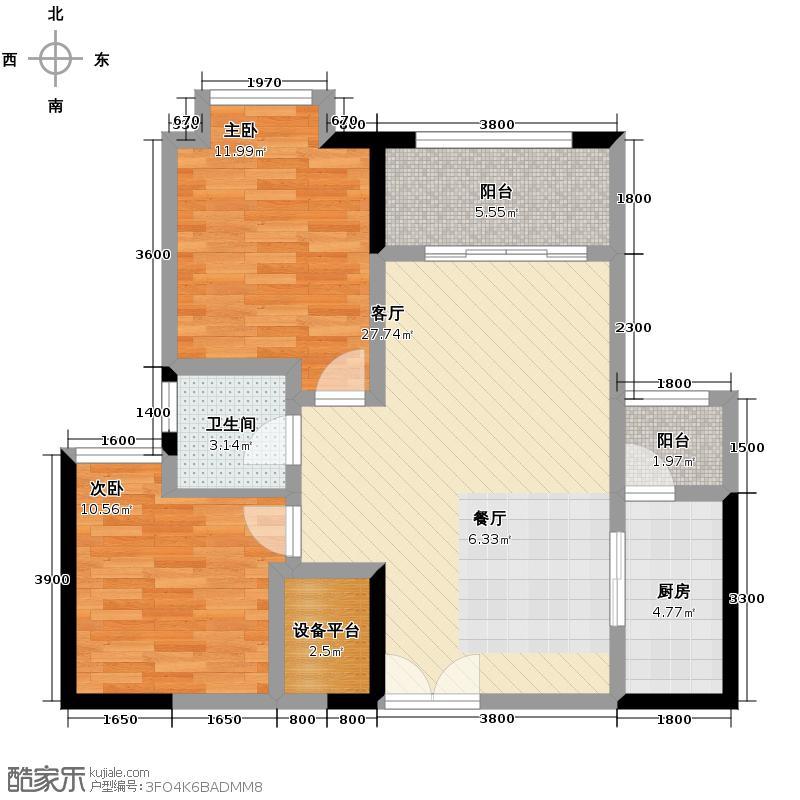 财信沙滨城市79.00㎡5号楼单卫+双阳台户型2室2厅1卫