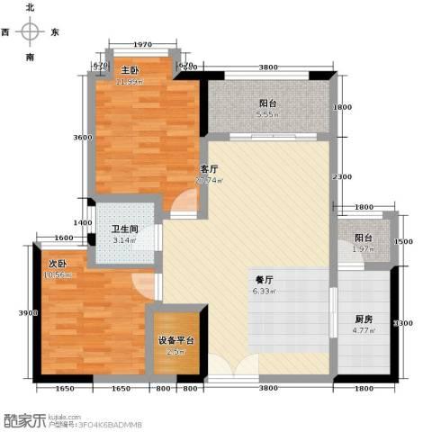 财信沙滨城市2室2厅1卫0厨79.00㎡户型图