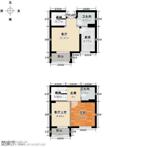 爱尚公寓1室2厅2卫0厨93.00㎡户型图