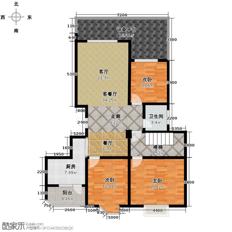 蜀都新城121.93㎡B1型跃层双卫户型3室1厅1卫1厨