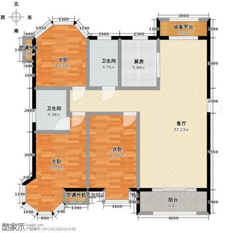 保利玫瑰湾3室2厅2卫0厨142.00㎡户型图