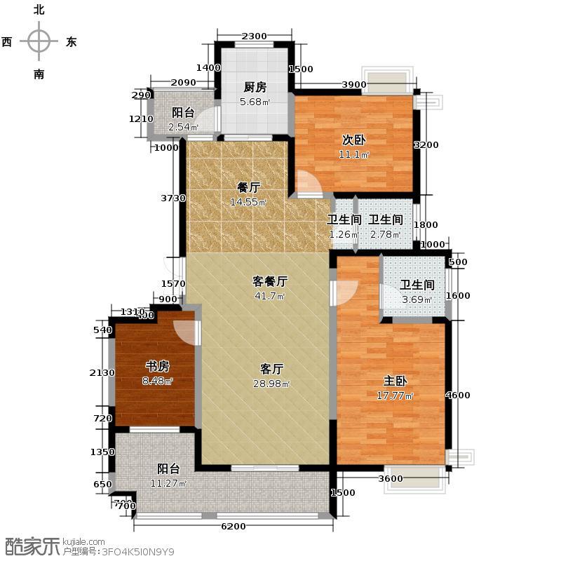 天朗西子湖127.80㎡B4双阳台观景阳台连客厅主卧独立洗手间户型3室1厅2卫1厨
