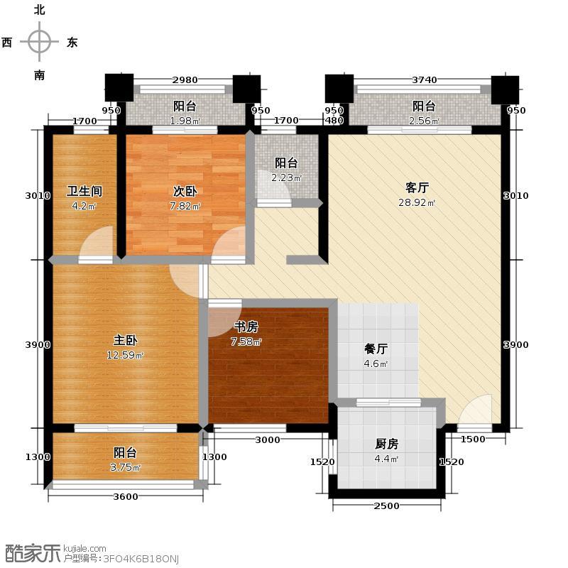 星悦城107.00㎡C1户型3室2厅2卫