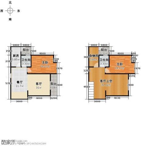 五星国色天香2室1厅2卫1厨158.00㎡户型图