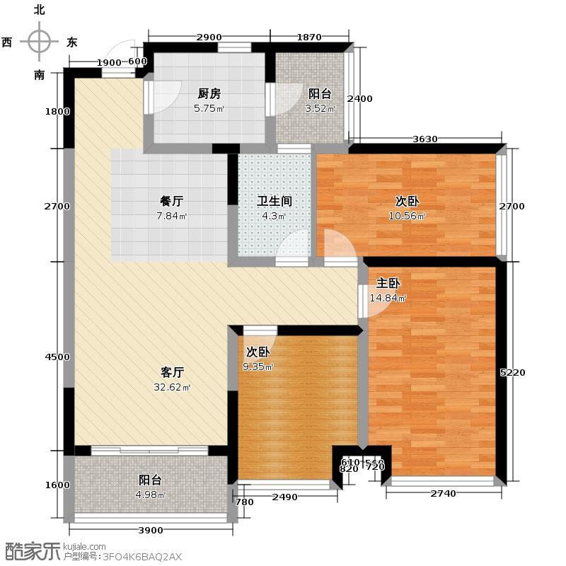光谷新世界107.00㎡C1户型3室2厅1卫