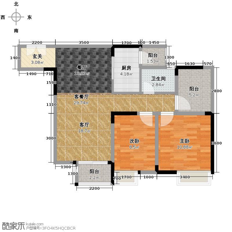 华宇金沙时代68.16㎡16号楼6号房户型2室1厅1卫1厨