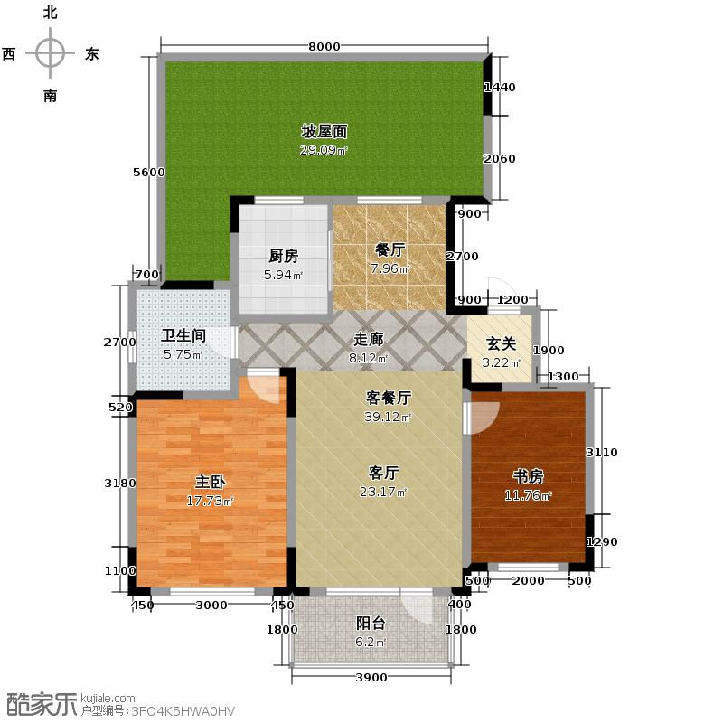 津滨藏锦113.00㎡2-B户型2室2厅1卫