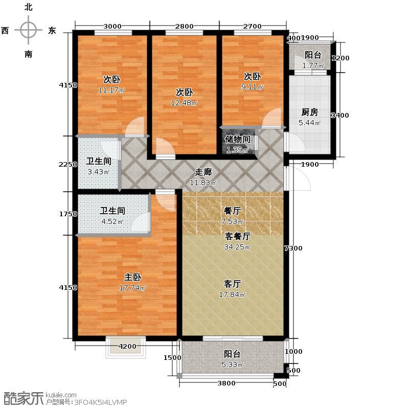 海棠家园146.75㎡户型4室2厅2卫