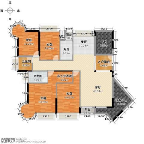 香缤雅苑4室1厅2卫1厨168.00㎡户型图