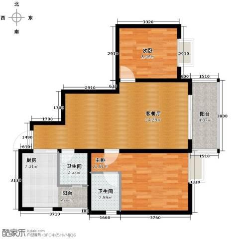 恒鑫名城2室1厅2卫1厨90.00㎡户型图