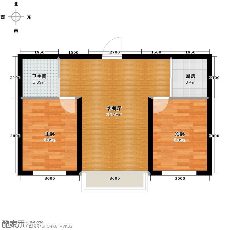 文龙家园73.00㎡E户型2室1厅1卫