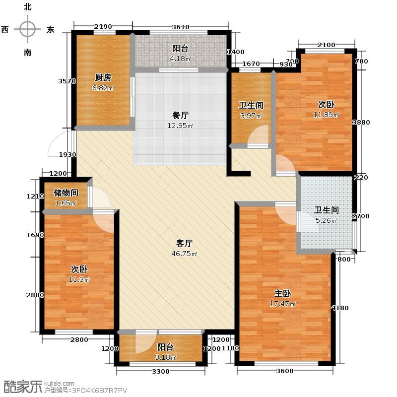 顶秀美泉小镇140.03㎡C区住宅M4双卫户型3室2厅2卫