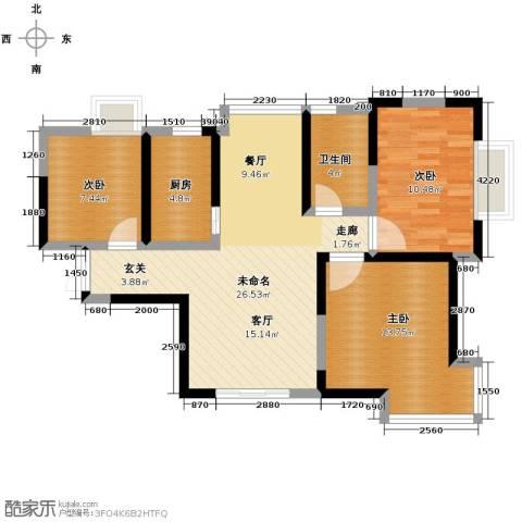 爱尚公寓3室2厅1卫0厨102.00㎡户型图