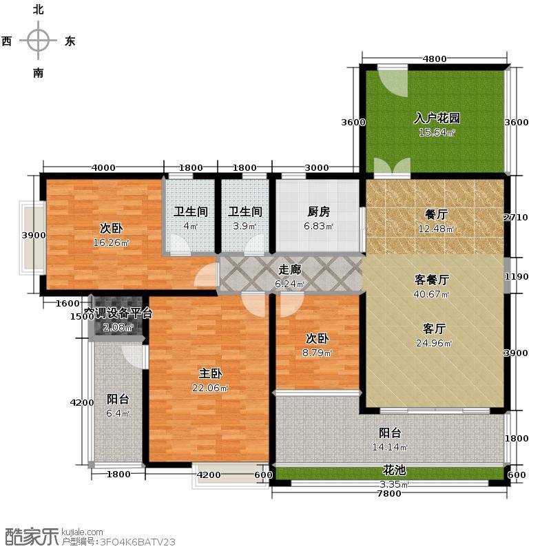 滨江一号160.01㎡3#楼03奇数层户型3室1厅2卫1厨