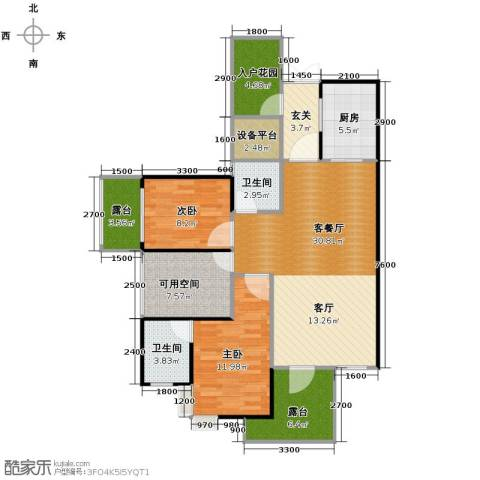 城市春天2室1厅2卫1厨96.00㎡户型图