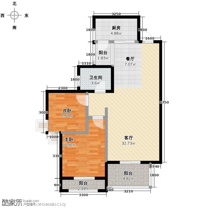 中国铁建青秀城78.25㎡一期B2户型2室1厅1卫1厨