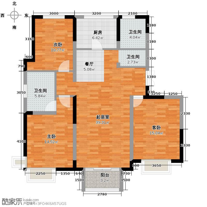 卫津领寓135.38㎡F户型3室2厅2卫