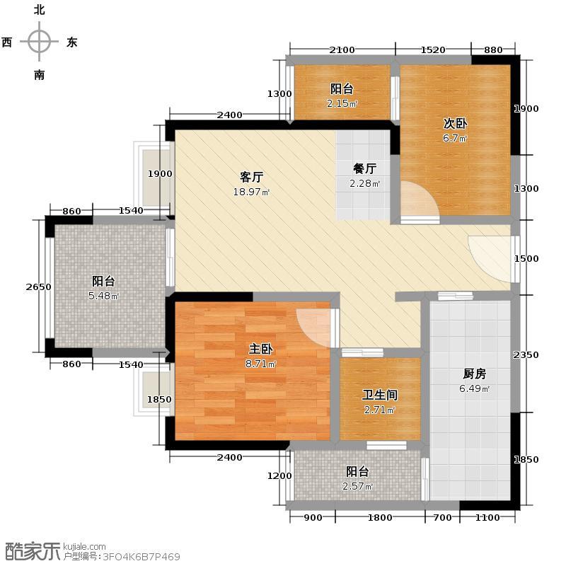 蓝光COCO时代62.00㎡A2户型3室2厅1卫