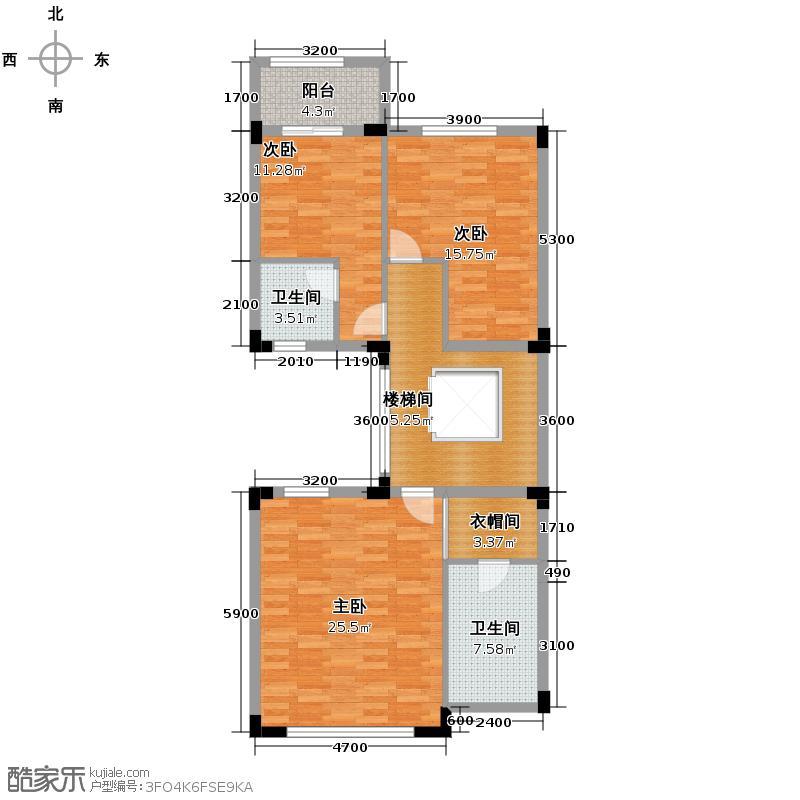 金地湖山大境240.00㎡联排A1-二层户型3室2卫