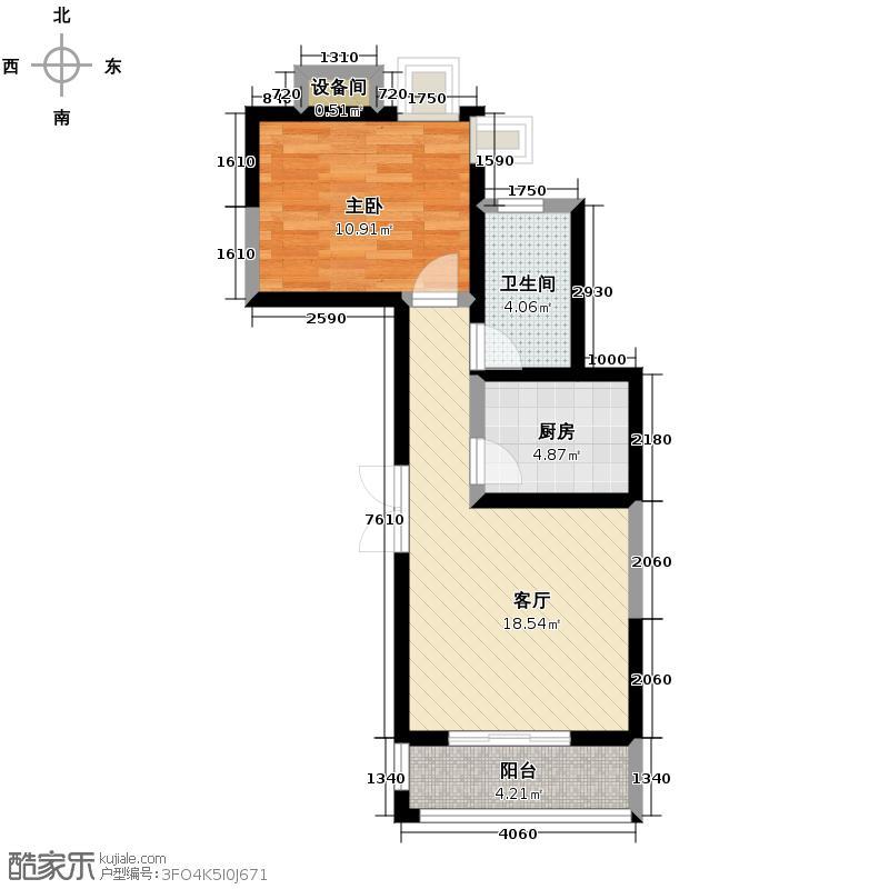 天朗西子湖55.46㎡20#E3一阳台客厅阳台贯通卧室360度景观角窗户型1室1厅1卫1厨