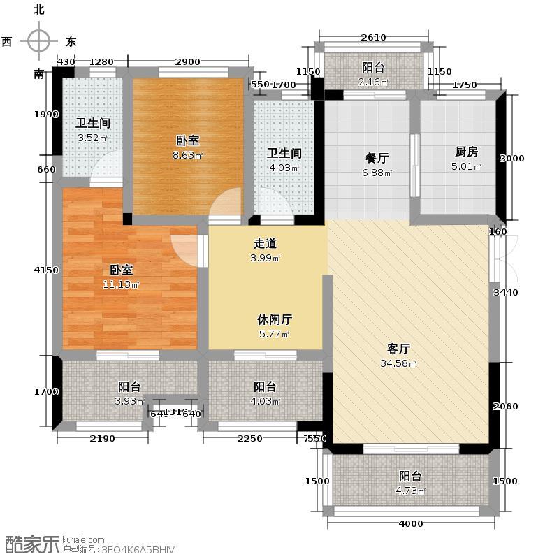 金科天籁城101.42㎡市区洋房D2格调之家赠送户型3室2厅2卫