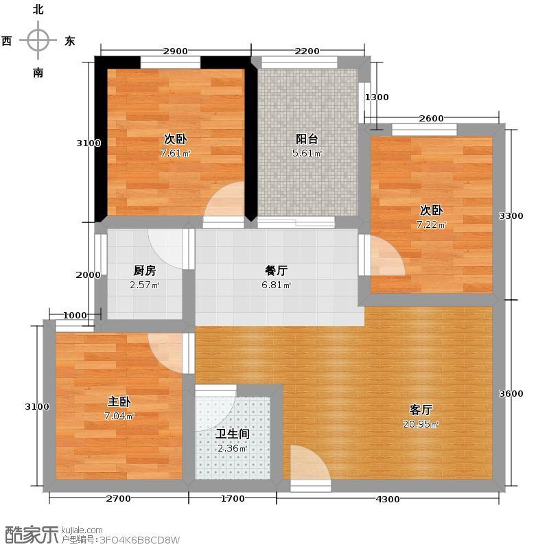 金寓83.23㎡E2户型3室2厅1卫