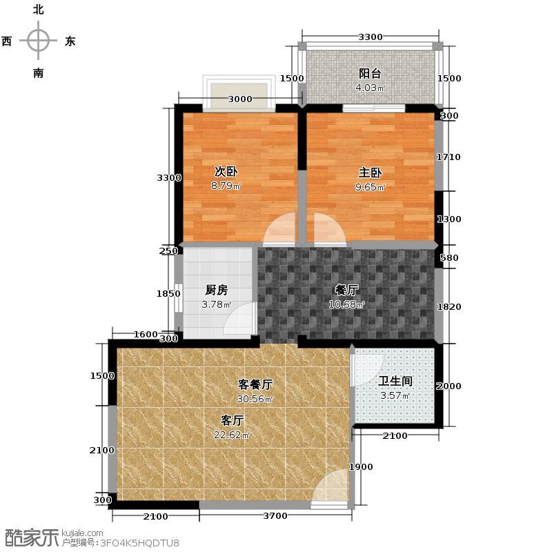 晟方佳苑82.64㎡1#楼R4户型2室1厅1卫1厨