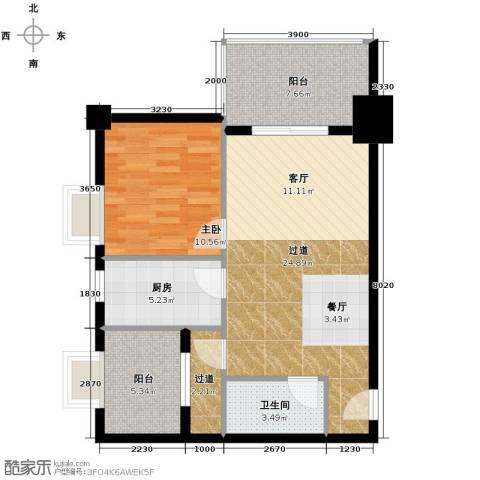 御笔华府1室0厅1卫1厨76.00㎡户型图