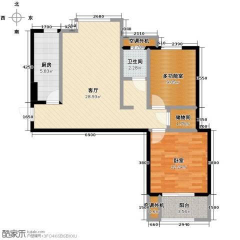 万科红郡1室2厅1卫0厨83.00㎡户型图