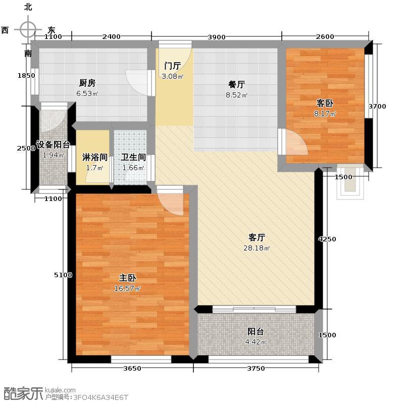 仁恒河滨花园99.00㎡A2户型2室2厅1卫