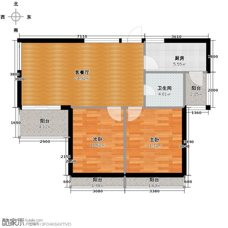 卧龙丽景湾三期88.00㎡1H户型2室2厅1卫
