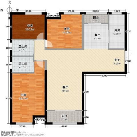 振业城中央3室2厅2卫0厨163.00㎡户型图