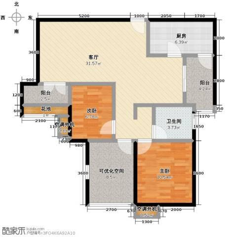 比克橄榄湾2室2厅1卫0厨97.00㎡户型图