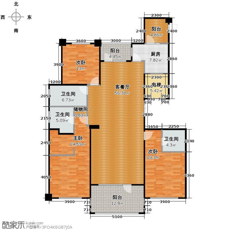半岛公馆192.72㎡A户型3室2厅3卫