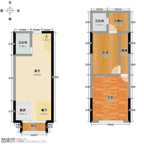 唐延公馆1室1厅2卫0厨71.13㎡户型图