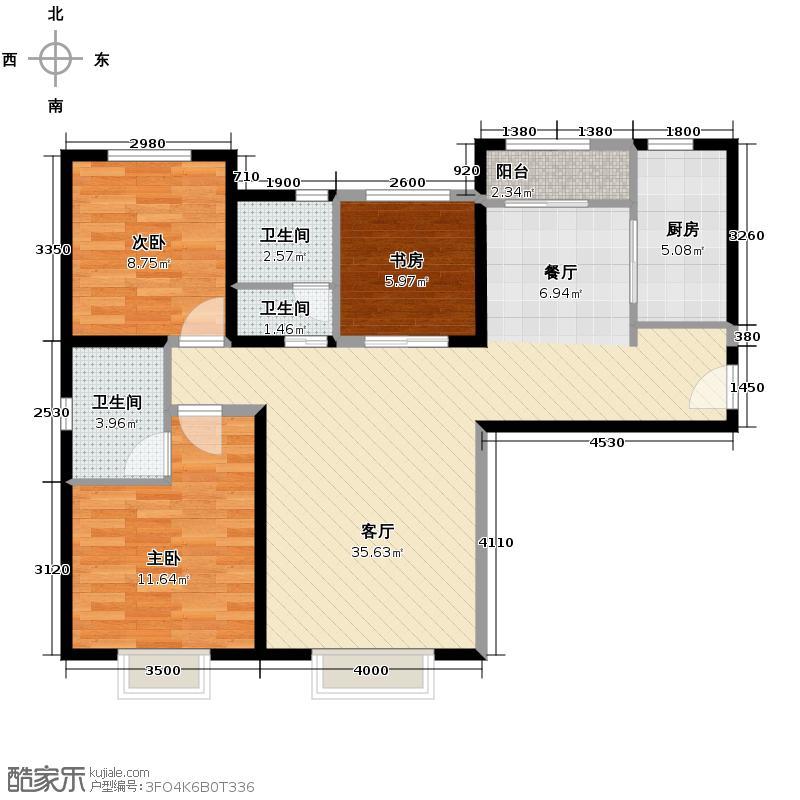 北宁湾115.00㎡二期A户型3室2厅2卫