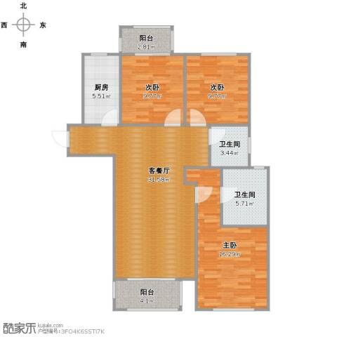 龙德花园3室1厅2卫1厨120.00㎡户型图