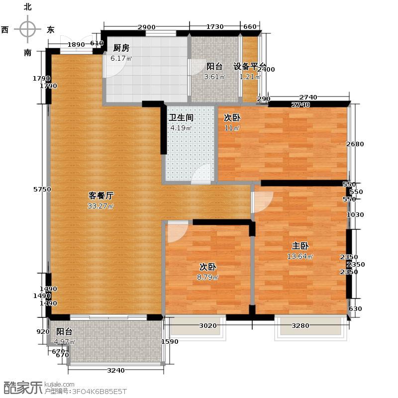 光谷新世界94.00㎡C1户型3室2厅1卫