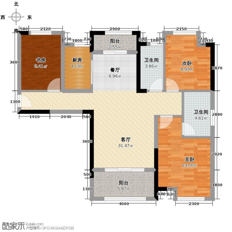 观澜高尔夫公馆118.74㎡3号楼D户型3室2厅2卫