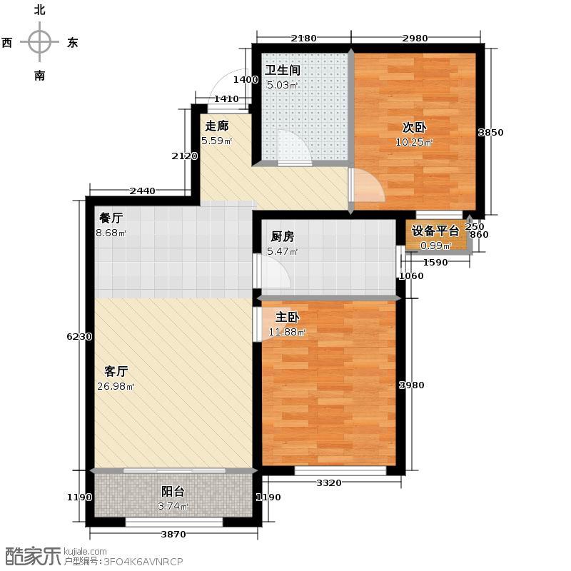 中国铁建国际城90.00㎡K户型2室2厅1卫