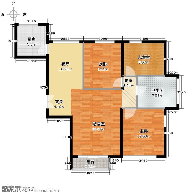 北京城建徜徉集110.00㎡B户型3室2厅1卫