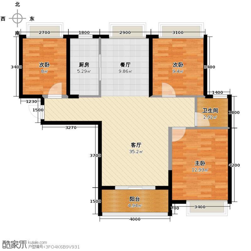 广电兰亭荣荟107.00㎡B2户型3室2厅1卫