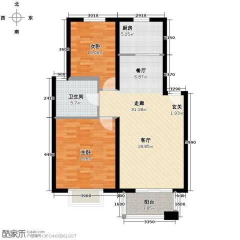 金桥普林斯顿2室2厅1卫0厨89.00㎡户型图