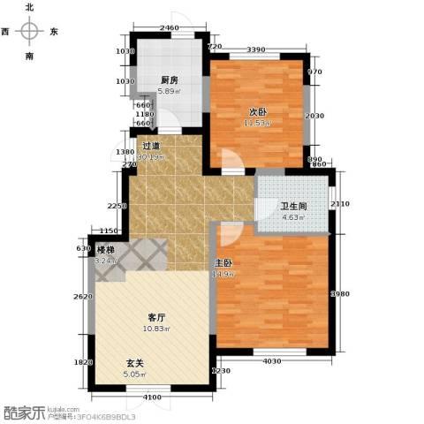 融科瀚棠2室2厅1卫0厨91.00㎡户型图