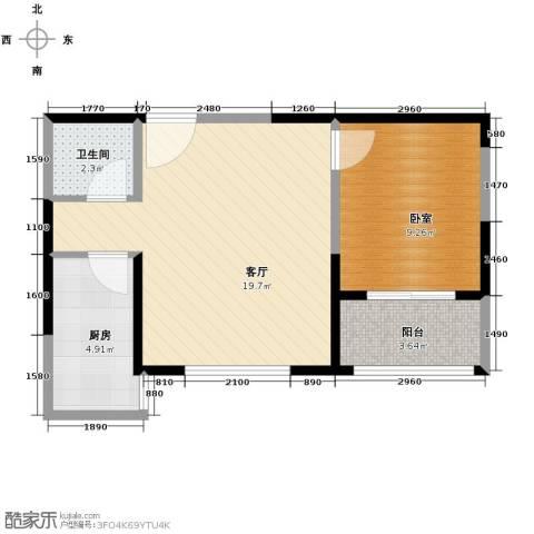 锦里1室2厅1卫0厨52.00㎡户型图